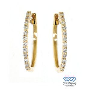Solid Diamond Charm Hoops Earrings 14K Yellow Gold